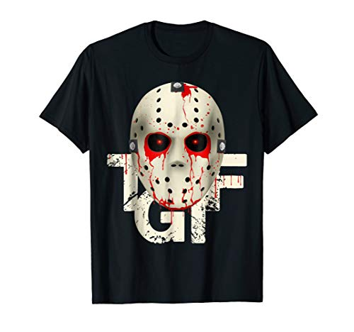 (T-G-I-F Bloody Hockey Mask Halloween costume T-Shirt)