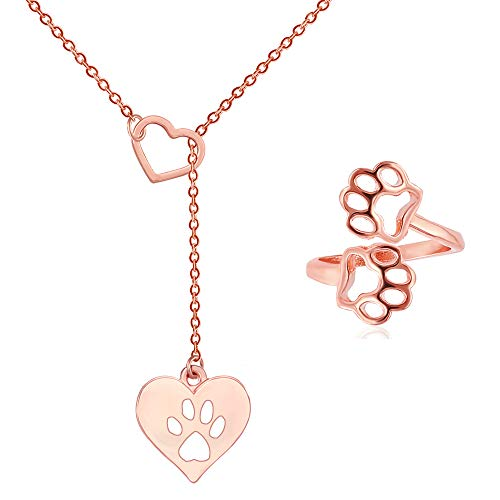 Gold Jewelry Heart Tag - SENFAI Pet Paw Footprint Cute Dog Cat Love Heart Claw Pendant Necklace Set for Women Girls Jewelry,18