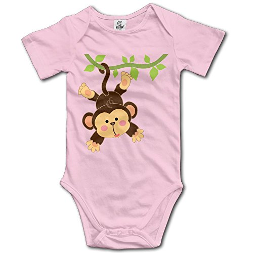 Unisex Baby's Climbing Clothes Set Naughty Monkey Bodysuits Romper Short Sleeved Light Onesies for 0-24 Months