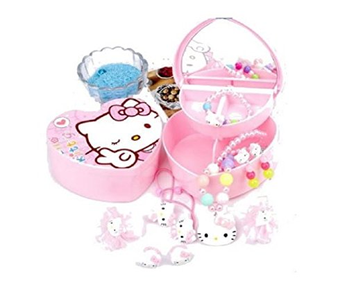 Cute Heart-shaped Hello Kitty Jewelry Storage Box 2 Layer with Adorable Faux Pearl Girl Hairpin & Accessory 10-piece Set