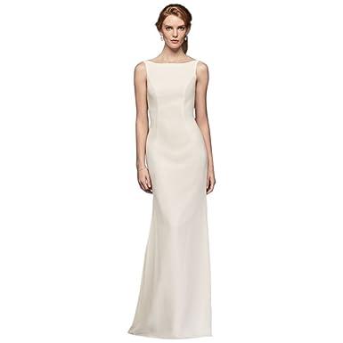 David\'s Bridal High-Neck Crepe Wedding Dress with Ruffled Back Style ...