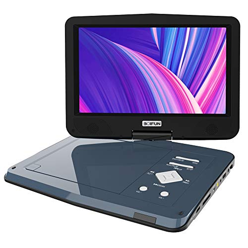 - BOIFUN Portable DVD Player 12.5 inch, Enhanced Screen Brightness to 220cd/m2, 5 Hours Rechargeable Battery, Dual Earphone Jack & Loud Volume, Region-Free,Grey