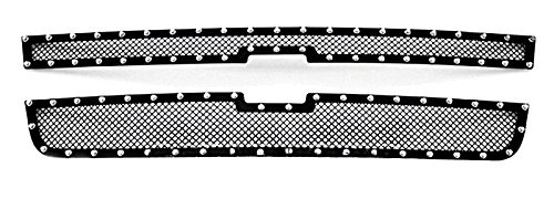 MaxMate 06 Chevy Silverado 1500/05-06 2500 Upper 2 PC Stainless Steel Black Powder Coated Mesh Grille Grill Insert