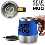 [Update]Self Stirring Coffee Mug - Upintek Magnetic Self Stirring Mug Cup, Electric Stainless Steel Automatic Self Mixing Cup and Mug for Traveling Morning, Office Men and Women 450ml/15.2oz(Blue)