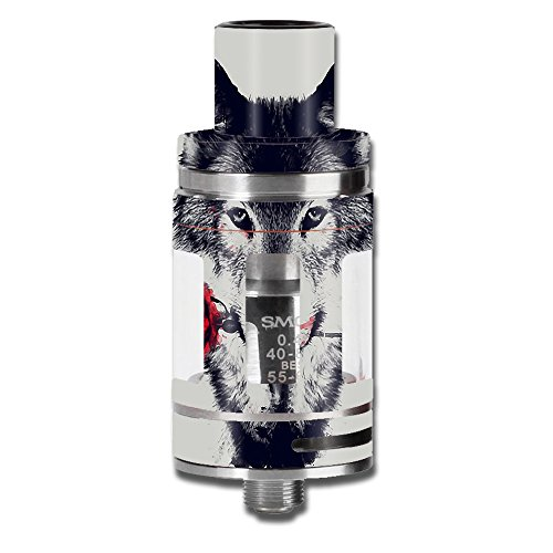 Skin Decal Vinyl Wrap for Smok Micro TFV8 Baby Beast Tank Vape Mod stickers skins cover / Wolf with rose in mouth