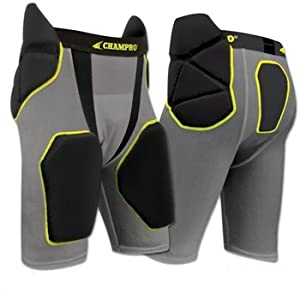 Champro Tri-Flex Integrated Football Girdle with built in Hip-Tail and Thigh Pads ADULT BLACK MEDIUM