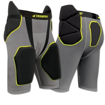 Champro Tri-Flex Integrated Football Girdle with built in Hip-Tail and Thigh Pads ADULT BLACK MEDIUM (Girdle Pro)