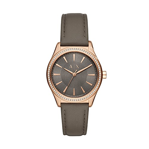 Armani Exchange Women's Quartz Stainless Steel and Leather Casual Watch, Color:Brown (Model: AX5455)