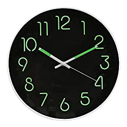 WHAT ON EARTH Glow In The Dark Wall Clock - Analog Retro Style - 12 Diameter