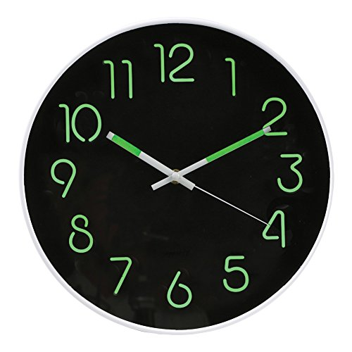 WHAT ON EARTH Glow in The Dark Wall Clock - Analog Retro Style - 12
