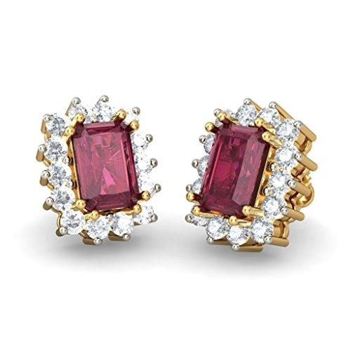 Or jaune 18K 0,5ct tw White-diamond (IJ | SI) et rubis Boucles d'oreille à tige