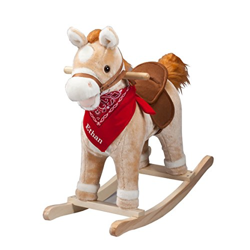 Fox Valley Traders Personalized Animated Rocking Horse with Sounds, Customized Ride-On Pony with Wooden Base from Fox Valley Traders
