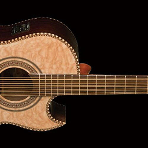 Oscar Schmidt OH32SEQN Acoustic-Electric Bajo Quinto with Burled Maple Top and Deluxe Gig Bag - Natural