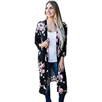 FEITONG Women Fashion Print Bohemian Cardigan Long Kimono Oversized Deep-V Shawl