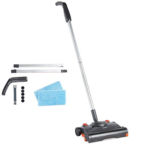 VonHaus Electric Floor Sweeper - Cordless/Wireless Rechargeable Floor Sweeper/Broom With Rapid-Rotation Brush Head – Lightweight, Upright Cleaner for Carpet & Hardwood Floors