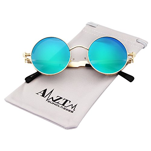 AMZTM Small Round Metal Frame Mirrored Reflective Lens Polarized Women and Men Sunglasses (Golden Frame and Blue-green Lens, - Reflective Shades