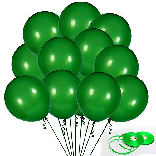 100Pack Green Balloons, 12Inch Green Latex Balloons Premium Helium Quality Dark Green Balloons Light Greeen Balloons for Party Supplies and Decorations(with Green Ribbon)]()