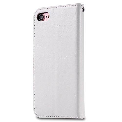 iPhone 7 4.7 inch Hülle, Moonmini® Weiß PU Leder Handyhülle Magnetverschluss Brieftasche Lederhülle Tasche mit Standfunktion Card Holder für iPhone 7 4.7 inch