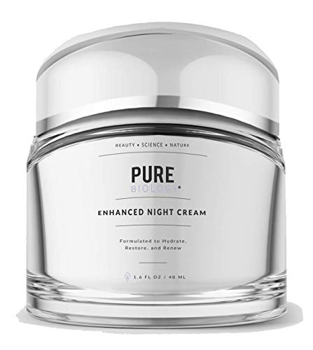 Pure Biology Premium Night Cream Face Moisturizer with Retinol, Hyaluronic Acid & Anti Aging, Wrinkle Firming Complexes - Collagen Boosting Skin Care for Men & Women, 1.6 oz (Best Anti Aging Night Moisturizer)