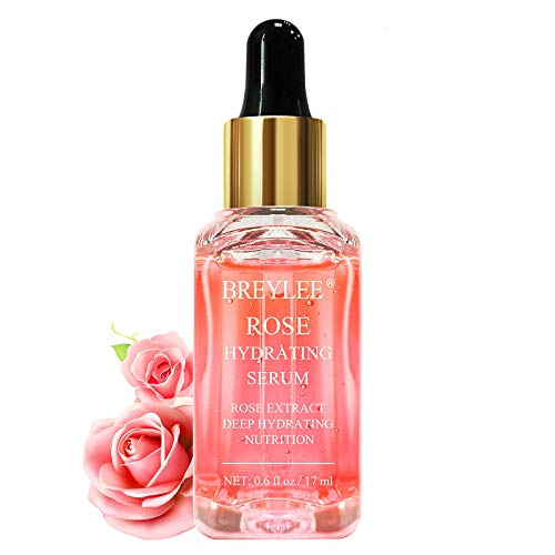 Rose Face Serum, BREYLEE Hydrating Serum Moisturizing Serum Face Serum Hydrating with Hyaluronic Acid Alcohol Free Facial Serum for Skin Care(17ml,0.6fl oz.)