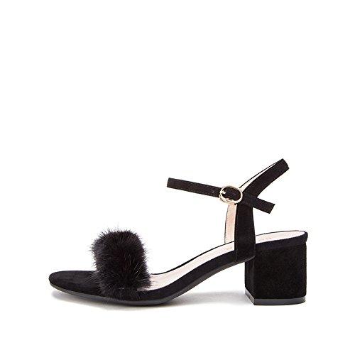 alla basso moda casual Pantofole Tacchi 36 tacco da alti piatti estivi basso Sandali Sandali con a donna DHG tacco Sandali Nero nwaqpWaX