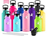 KollyKolla Vacuum Insulated Water Bottle Metal Water Bottles with Straw & Filter Hot & Cold Drinks Bottle Stainless Steel Thermoflask Leakproof Kids for Gym,Cycling,Football,(750ml Pink)