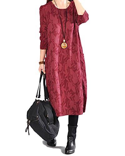 Collare Donna Vestito Manica Rotondo Lunga Vino Rosso Vestito Kasen Sciolto fCqnt7f