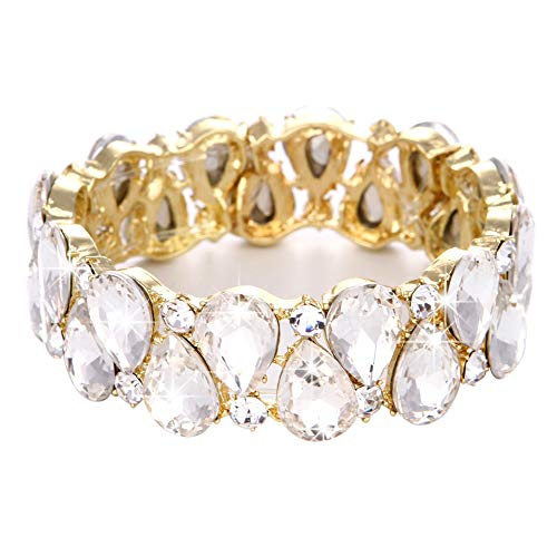 Youfir Bridal Austrian Crystal Teardrop Knot Elastic Stretch Bracelet for Brides Wedding Party(B-Clear-Gold Tone)