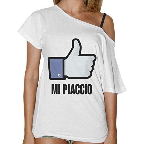 Social Like Shirt A Barca Donna Simpatica Bianco Mi T Piaccio Collo P6OSSw