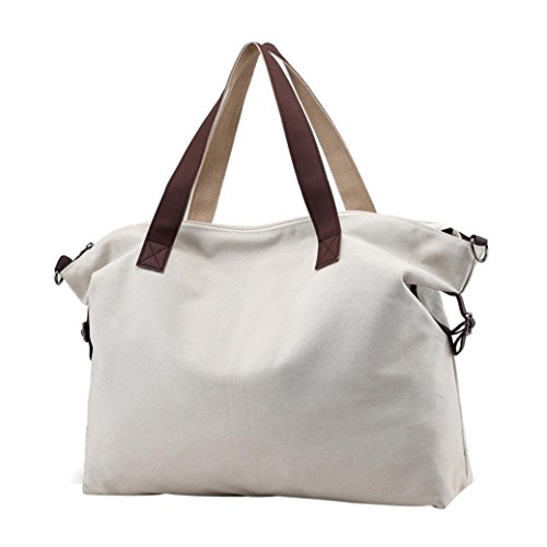 para Niña Bolsos Shoppers de Mujer y Blanco ESAILQ Grandes de Lona Bandolera Hombro Baratos Pqw4rPA