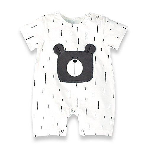 c01547b34b1a8 Baby Nest 夏 ベビー服 半袖ロンパース 女の子 男の子 肩ボタン 熊柄 フルプリント 男女兼用