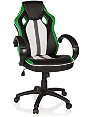 MyBuero GAMING PLAYER Faux Leather Green/White, Gaming Chair/Office Chair with Armrests 722430