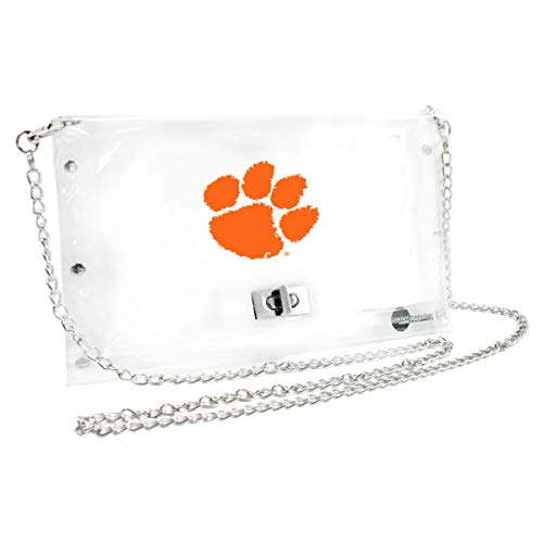 Littlearth Clemson Tigers  NCAA Envelope Purse, Clear  - 10 x 0.5 x 6.5 - Inch (Spirit Of Earth Women Apparel Retail)