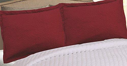 MarCielo 2-Piece Embroidered Pillow Shams, Decorative Microfiber Pillow Shams Set Standard Size, Dark Burgundy