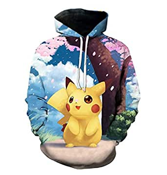 JUSTRHICE Unisex Anime Pokemon Hoodie Pikachu Cartoon Pullovers Jackets Sweatshirt Fleeces Costume (2XL)