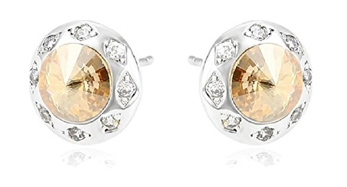 Champagne Colored Costume Jewelry (Round Silver Tone Stud Earrings Featuring Brilliant Swarovski Crystals (Available in 3 Colors) (Champagne))