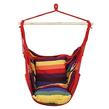 Amazon.com : ZENY Rainbow Hanging Rope Hammock Chair Swing Seat ...