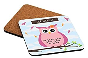 """Rikki Knight """"Lindsey"""" Name - Cute Pink Owl on Branch with Personalized Name Design Cork Backed Hard Square Beer Coasters, 4-Inch, Brown, 2-Pack"""
