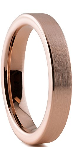 Tungsten Wedding Band Ring 4mm for Men Women Comfort Fit 18K Rose Gold Plated Pipe Cut Flat Brushed Polished Lifetime Guarantee