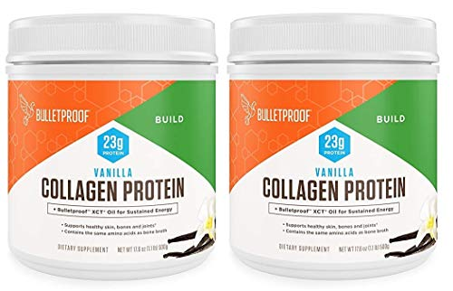 Bulletproof Collagen Vanilla Protein Powder – Ketogenic Diet, Pasture Raised, Amino Acid Building Blocks for High Performance (17.6 Ounces) (Pack of 2)