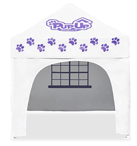 PupUp Canopy Instant and Portable Dog House and Shelter, White/Purple, Large (Cabana Dog Crate Cover)