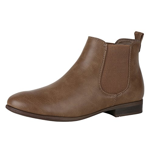 napoli-fashion Damen Stiefeletten Flache Chelsea Boots Leder-Optik Schuhe Gr. 36-41 Jennika Khaki Braun