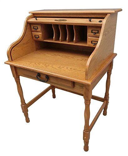 32 in. Lonie Mini Roll Top Desk in Harvest Oak for sale  Delivered anywhere in USA