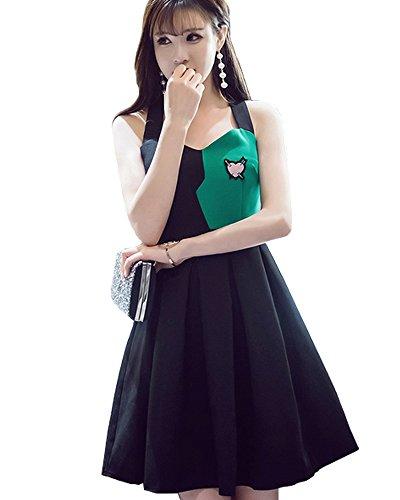 クライアントセンチメートル書き出すレディース ドレス ワンピース スリム Vネック 背中が大きく開いたセクシードレス 2017 夏 ブラック フォーマル 着こなしおしゃれ 【限定 MyStyleエコバック付き】