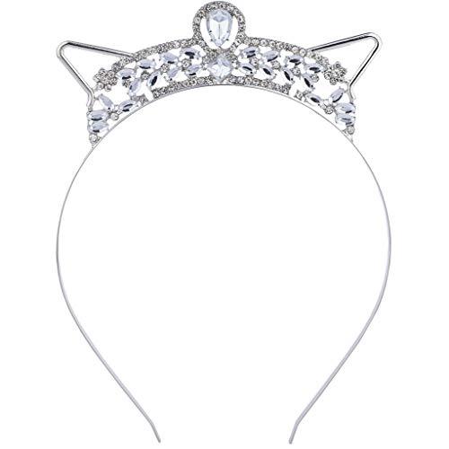 Lux Accessories Silver Tone Bling Rhinestone Halloween Bride Cat Ear Headband]()