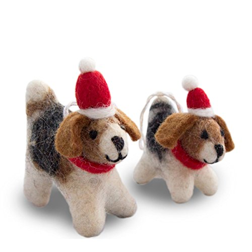 Santa's Helper Dogs - GIFT WRAPPED Christmas Hanging Ornaments By Friendsheep - Eco-friendly Handmade Fair Trade Sustainable- 100% Pure New Zealand Wool - Limited Edition ()