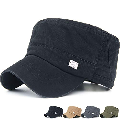 Rayna Fashion Unisex Adult Washed Denim Cotton Flat Top Hat Military Army Cadet Cap Leather Strapback Black