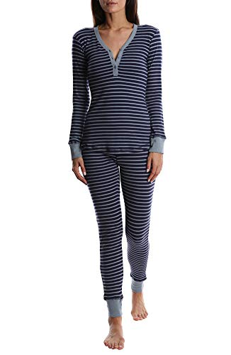 Pants Striped Pajama Flannel (Blis Women's Henley Sleep Shirt and Jogger Pants PJ Set - Ladies Pajamas & Sleepwear - Navy, Medium)