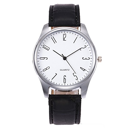 Mens Watches,Men's Dial Wrist Watches,Mens Leather Watch Black Simple Men Business Waterproof Quartz Casual Watch (A) ()