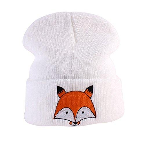 potato001 Winter Warm Newborn Toddlers Baby Girls Boys Fox Pattern Knitted Hat Beanie Cap (White)